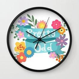 Pretty Odd Floral Banner Wall Clock
