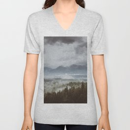 Misty mountains - Landscape and Nature Photography Unisex V-Neck