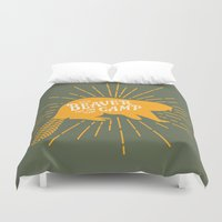 beaver Duvet Covers featuring Beaver Camp: Face Your Fears by Mother Goosebumps