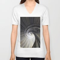 sand V-neck T-shirts featuring Sand stone spiral staircase by Falko Follert Art-FF77