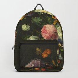 Jacob Van Walscappelle - Flowers In A Glass Vase Backpack