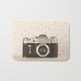 Zenit 3 Camera Film on Pink Flower Background Pearls on Book ( Vintage Still Life Photography)  Bath Mat