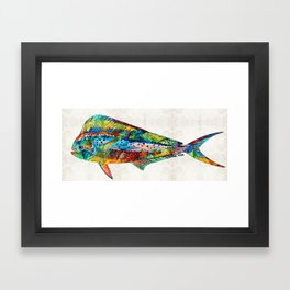 Colorful Dolphin Fish by Sharon Cummings Framed Art Print