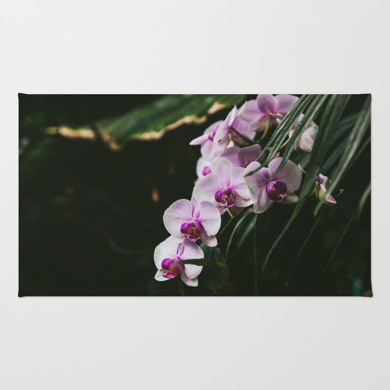 White & Purple Orchids Rug by Jillianvanzytveld RUG8947757