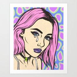 Pink Grunge Sad Girl Art Print