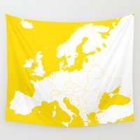 europe Wall Tapestries featuring EUROPE YELLOW by SebinLondon