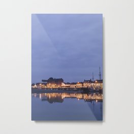Boats and harbour at dawn twilight. Wells-next-the-sea, Norfolk, UK. Metal Print