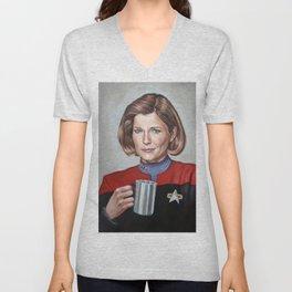 Captain Janeway - Portrait Painting Unisex V-Neck