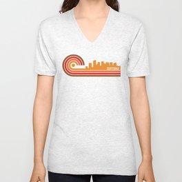 Retro Style Scottsdale Arizona Skyline Unisex V-Neck