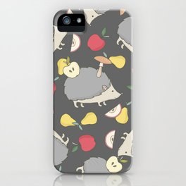 Cute Hedgehog and Fruits iPhone Case