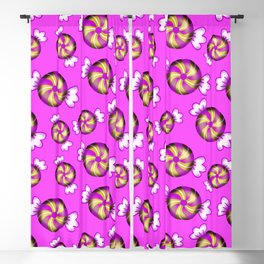Cute lovely sweet decorative Christmas caramel chocolate candy in shiny wrappers pattern Blackout Curtain