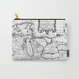 Vintage Map of The Great Lakes (1755) BW Carry-All Pouch