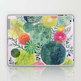 Succulent Circles on Pink Laptop & iPad Skin