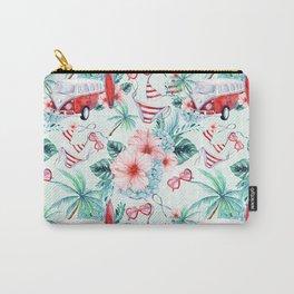 Retro 60s Bus, Surfboard, Bikini, Palm Trees, Beach Scene Carry-All Pouch