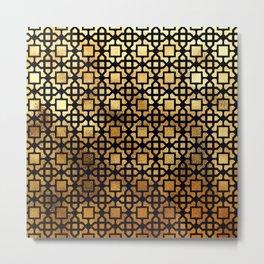 Luxurious Gold-Bronze Islamic Geometric Pattern Metal Print