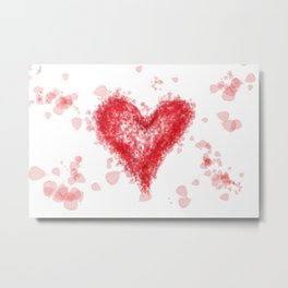 Valentine Flying Heart with Leaves Metal Print