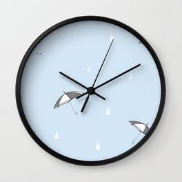 Raindrops are falling blue Wall Clock