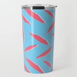 Flamingo Silhouette Bird Feathers Seamless Vector Pattern Background Travel Mug