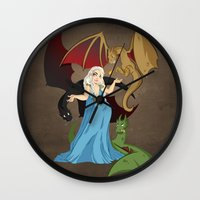 mother of dragons Wall Clocks featuring Mother of Dragons by Danielle Gransaull