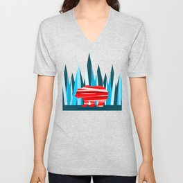 Abstract lines Bear Unisex V-Neck