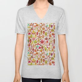 Red gold brown watercolor Autumn leaves pattern Unisex V-Neck