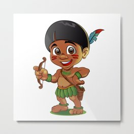 Illustration of a Tough Kid Indian with bow in Hands Metal Print