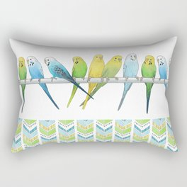 Row of Budgies Rectangular Pillow