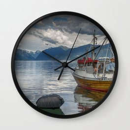 fishing boat in the harbor of Vik at the sognefjord in Norway Wall Clock