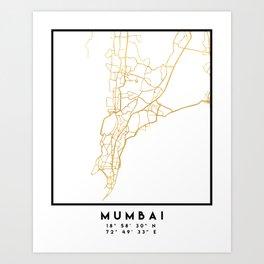 MUMBAI INDIA CITY STREET MAP ART Art Print