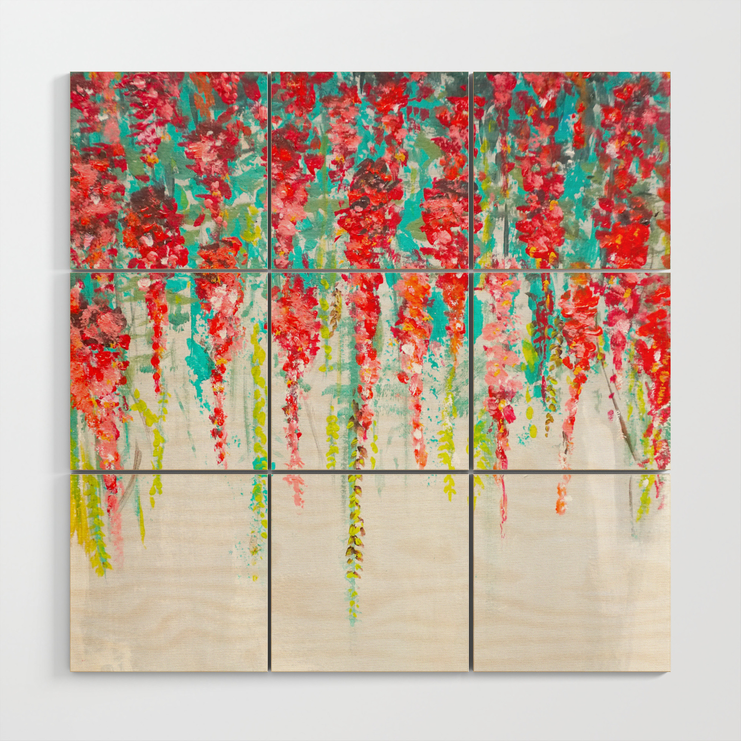 Coral Flowers Painting Cascading Flower Floral Art Abstract Wood Wall Art By Myartspacepr Society6