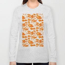 Lot of Lovely Orange Poppies White Background #decor #buyart #society6 Long Sleeve T-shirt