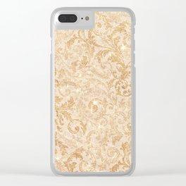 Elegant vintage faux gold glitter antique floral damask Clear iPhone Case