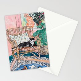 Two Cats - Pink Interior with Cane Chair and Plants Stationery Cards