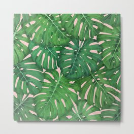 ROSE QUARTZ MONSTERA, by Frank-Joseph Metal Print