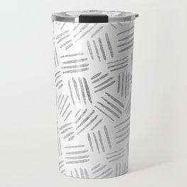 Elegant geometrical faux silver stripes pattern Travel Mug