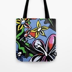 tropical flowers blue Tote Bag