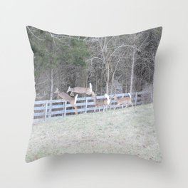 Jumping Deer Throw Pillow