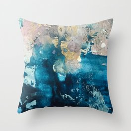 Timeless: A gorgeous, abstract mixed media piece in blue, pink, and gold by Alyssa Hamilton Art Throw Pillow