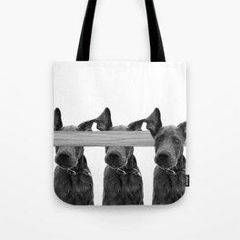Dog Crosses Line Tote Bag