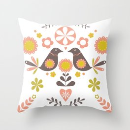 Scandinavian Folk Bird Print  Throw Pillow