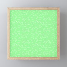 Mint Green and White Valentines Love Heart and Arrow Framed Mini Art Print