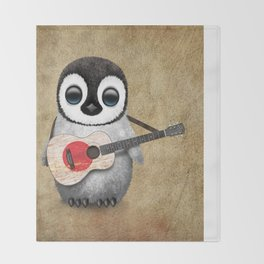 Baby Penguin Playing Japanese Flag Acoustic Guitar Throw Blanket