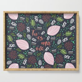 The Garden of Love - living coral deep blue Serving Tray