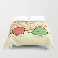 avocado Duvet Covers featuring avocado & mango by Tom April