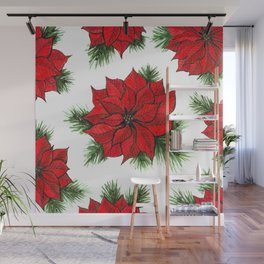 Poinsettia and fir branches pattern Wall Mural