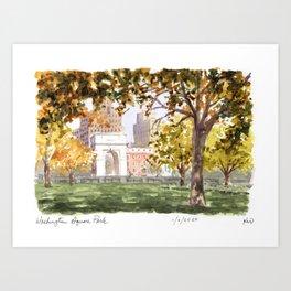 Washington Square Park in Autumn Art Print