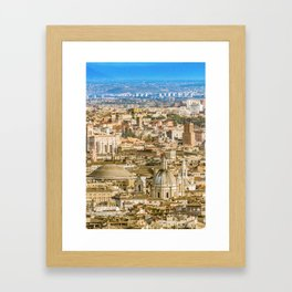 Rome Aerial View From Saint Peter Basilica Viewpoint Framed Art Print