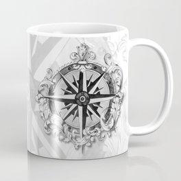 Black and White Scrolling Compass Rose Coffee Mug