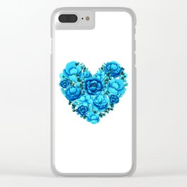 Elegant Floral Heart in Blue Hues Clear iPhone Case