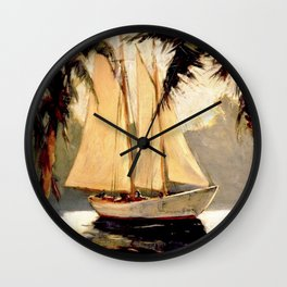 Sailboat off the Coast by Frederick Pawla Wall Clock